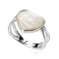 Zilveren ring hart parelmoer