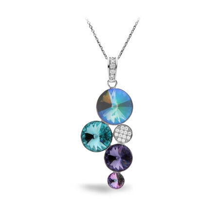 Spark zilveren hanger met blauw en bruin Swarovski crystal