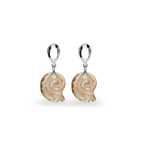 Zilveren oorbellen Spark Sea Snail golden shadow