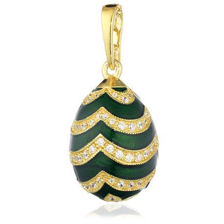 Verguld zilveren hanger van Fabergé met groen emaille