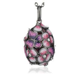 Faberge gezwart zilver collier met ei hanger bloemen en vlinders roze emaille