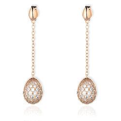 rosé verguld zilver lange oorbellen ei met zirkonia Fabergé