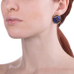 Raspini verguld zilveren oorknoppen Lapis Lazuli