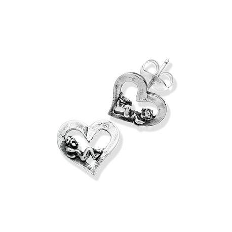 Zilveren oorbellen hart met engeltje van Raspini