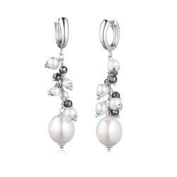LeLune zilveren creolen met parels en hematiet