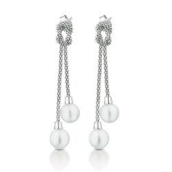 LeLune zilveren oorbellen knoop witte parels LGEA50