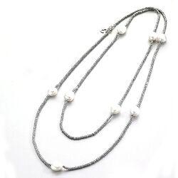 LeLune collier nefriet met witte parels 130 cm