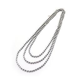 LeLune grijs parelcollier met hematiet 130 cm