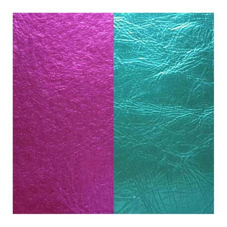 Les Georgettes 25 mm leertje metallic blauw en metallic roze