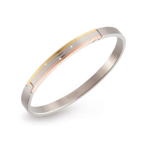titanium slavenarmband tricolor met diamant Boccia 03005-03