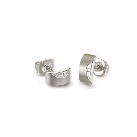 Titanium oorbellen diamantje 05007-02 Boccia