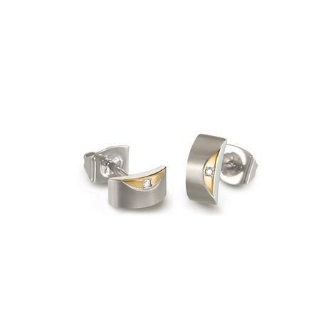 Titanium oorbellen bicolor met diamant 05007-02 Boccia