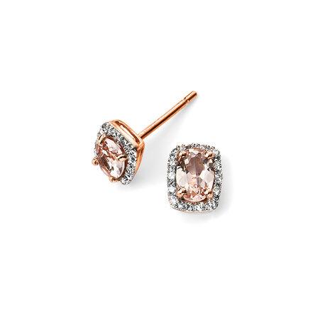Elements 9 krt rose oorstekers morganiet diamant GE2026P