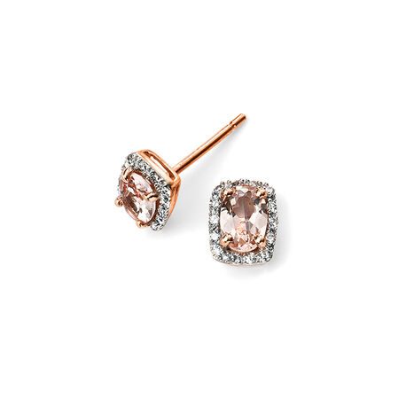 Rosé oorstekers diamant morganiet Elements Gold