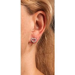 Witgouden oorbellen hartjes met briljant