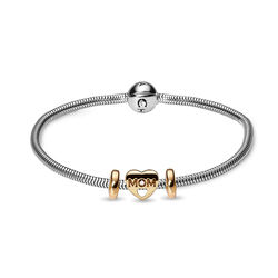 Christina aanbieding bicolor armband MOM bedel en stoppers
