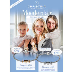 Christina actie zilveren armband met MOM bedel en stoppers bicolor