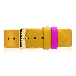 Zinzi Retro gele leren horlogeband verguld stalen sluiting