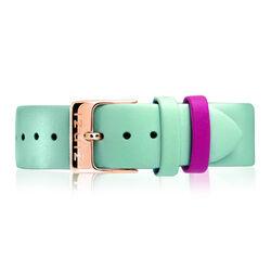 Zinzi Retro aquablauw leren horlogeband roseverguld stalne sluiting