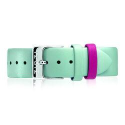 Zinzi Retro aquablauw leren horlogeband stalen sluiting