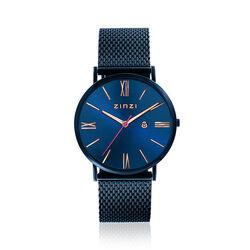 Donkerblauw Zinzi Roman horloge rosé