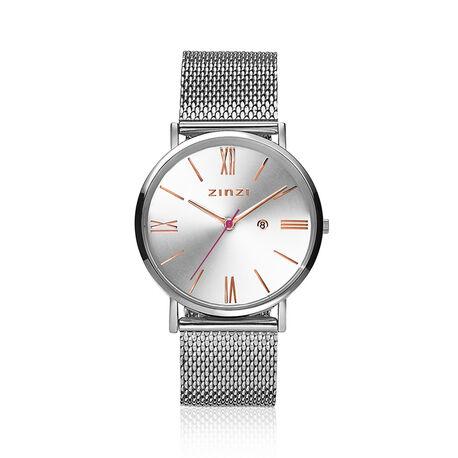 Zinzi Roman horloge zilverkleurig rose tijdsaanduiding ziw512M