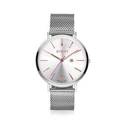 Zinzi Retro Horloge zilverkleurig met rosé accenten ziw412M