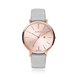Zinzi Retro horloge rosé horlogekast en wijzerplaat ziw405lg