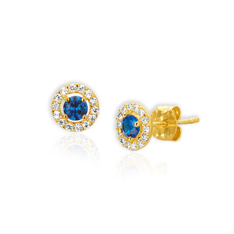 Gouden oorknopjes blauw steen met wit zirconia