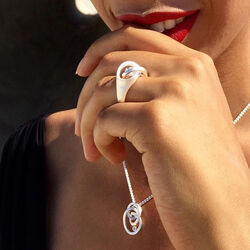 Bastian Inverun zilveren ring cirkels met diamant 12522