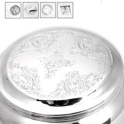 Antieke ronde zilveren koektrommel