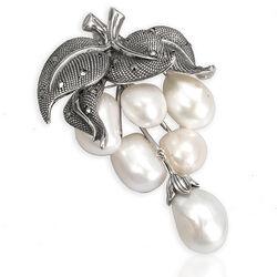 Zilveren broche hanger druiventros parels