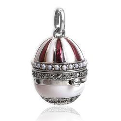 Zilveren ei hanger wit rood emaille markasiet en pareltjes