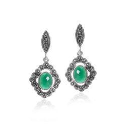 Zilveren oorbellen markasiet groen zirkonia