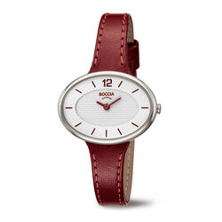 boccia titanium horloge met rood leren band