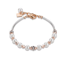 Coeur de Lion armband frontline witte Swarovski parels en crystals 4864-30-1620