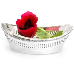Zilveren mandje met glazen binnenbak