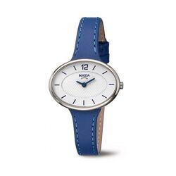 Boccia titanium dames horloge 3261-03 blauwe leren band