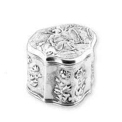 Antiek lodereindoosje zilver cartouche