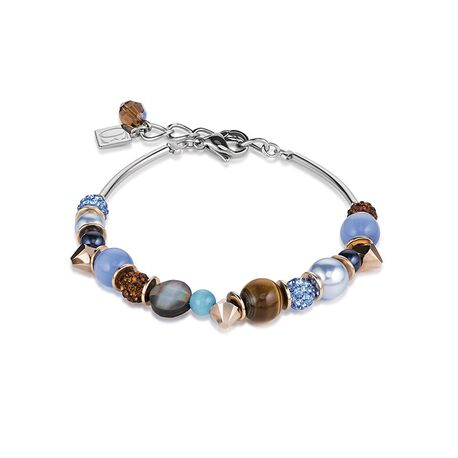 Coeur de Lion armband frontline blauw bruin 4864-30-0711