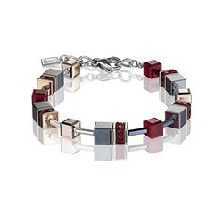 Coeur de Lion armband rood Geo Cubes 4015-30-0300