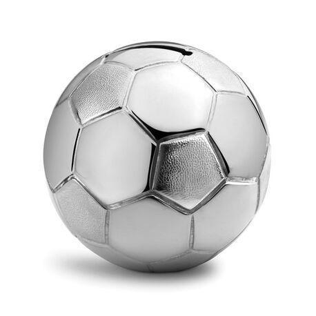 Verzilverde spaarpot bal voetbal