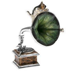 Zilver miniatuur grammofoon met kat en muis Saturno