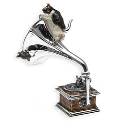 Saturno Miniatuur Grammofoon Met Kat En Muis