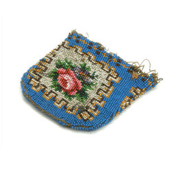 blauw kralenbeurs met rode roos