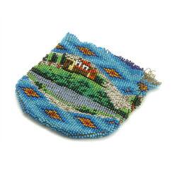 Blauw kralenbeursje met afbeelding landschap