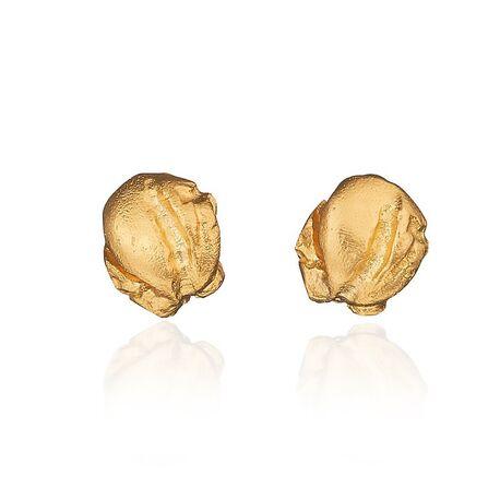 14 Karaats geelgouden oorstekers mininugget 132803