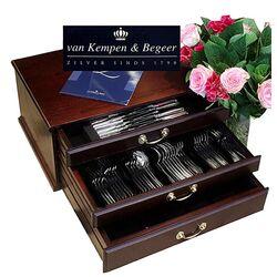 Zilveren cassette 9 persoons haags lofje van Kempen en Begeer