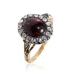 Gouden ring granaat roosdiamant