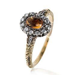 Gouden ring citrien roosdiamant
